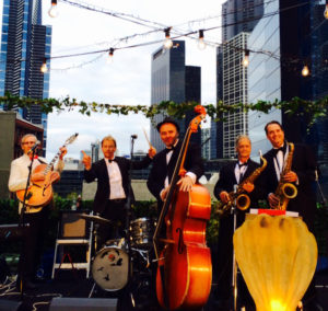 The Pearly Shells Hot 5 play a roof top wedding in Melbourne CBD
